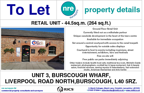 Unit 3 BURSCOUGH WHARF TO LET