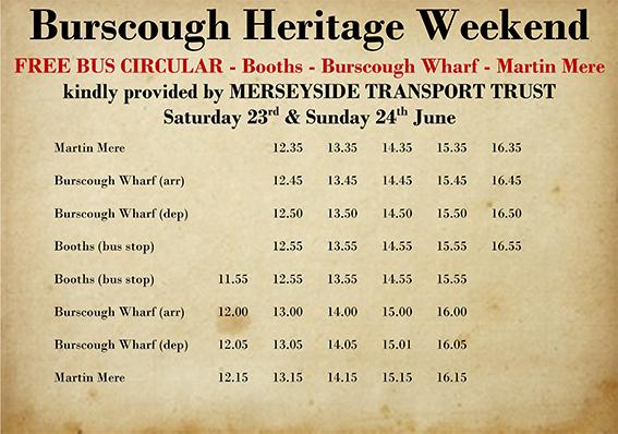 Heritage bus timetable